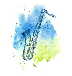 Hand drawn classical alto saxophone vector