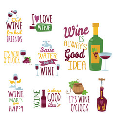 hand drawn natural badges and labels for wine vector image