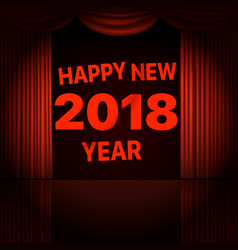 Happy new 2018 year concept stage curtains with vector
