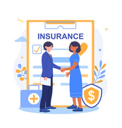 Health insurance agent shaking hands after signing vector