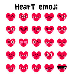 heart emoji facial expression set vector image