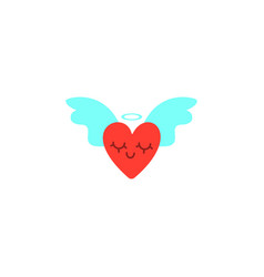 hearts with wings valentines day cute cartoon vector image