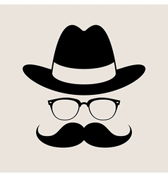Hipster style element glasses Hat and mustaches vector