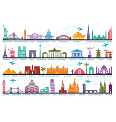 Icons world tourist attractions the symbols vector