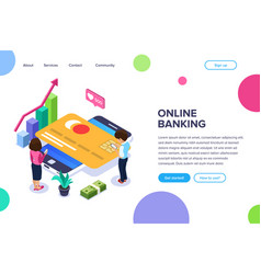 isometric online banking concept man and a woman vector image