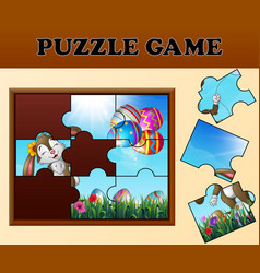 Jigsaw puzzle game with happy easter bunnies vector