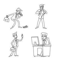 lineart vintage businessman cartoon characters set vector image