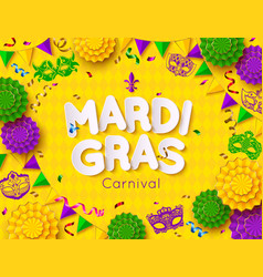 Mardi gras carnival background with mask shrove vector