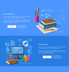Mathematics and economics lessons informative page vector