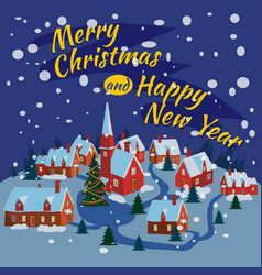 Merry christmas and happy new year village houses vector