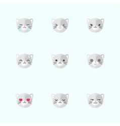 minimalistic flat cat emotions icon set vector image