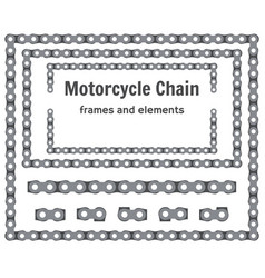 Motorcycle chain frames and elements set vector
