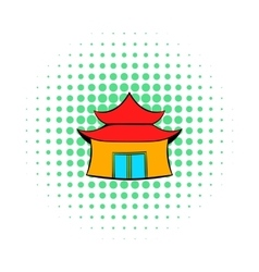 Pagoda icon in comics style vector