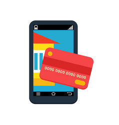 Payment by card smartphone contactless payment vector