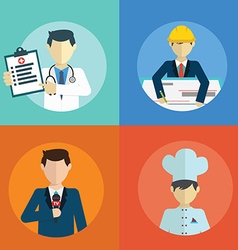 People professions flat icons set with doctor vector