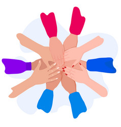 people putting their hands together friends vector image
