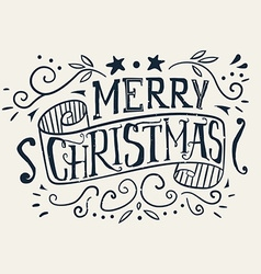 Postcard Christmas Painted in ink Hand lettering vector