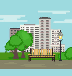 Public park on city landscape background in flat vector