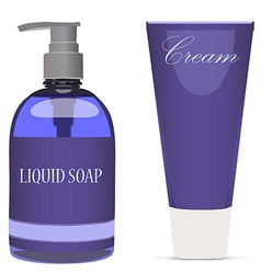 Purple liquid soap bottle and cream tube vector image
