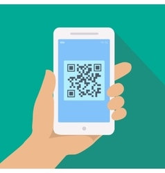 Qr code reader app on smartphone screen hand vector