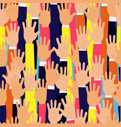 raised up hands seamless background education vector image