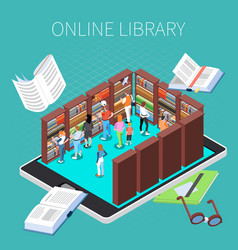 reading and library composition vector image