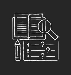 reading examination chalk white icon on black vector image