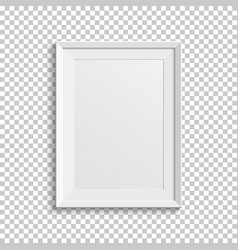 Realistic white picture frame on transparent vector