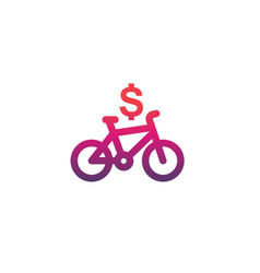 Rent bike bicycle icon on white vector