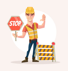 Road worker man character holds stop sign vector