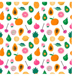 Seamless pattern with fruits hand drawn vector