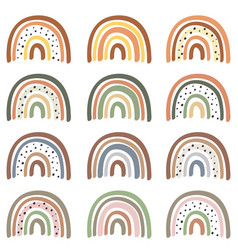 set isolated pastel rainbows part 2 vector image