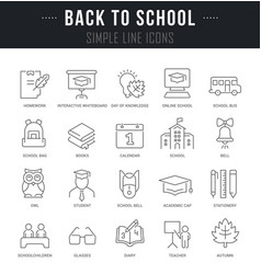set line icons back to school vector image