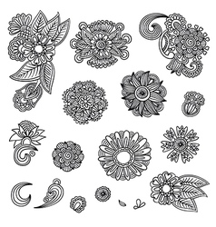 Set of hand draw black flower design vector image