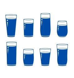 set of isolated blue water glass vector image