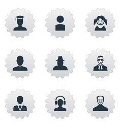 set simple member icons vector image