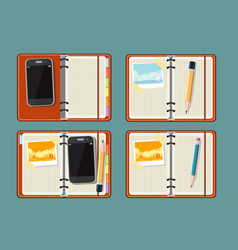 Set with notepad smart phone photo and watch vector