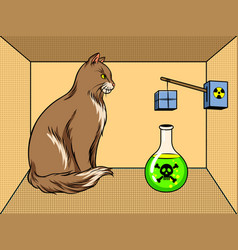 Shroedinger cat in box poison pop art vector