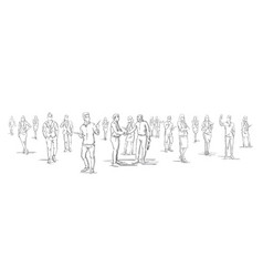 silhouette businessmen shake hands with business vector image