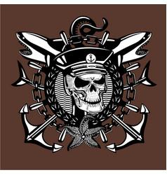 Skull captain vintage style sailor tattoo vector