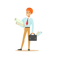 smiling architect standing and holding project vector image