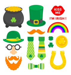 st patricks day sticker element set collection vector image