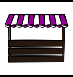 Store with striped awning ico vector