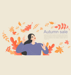 Symbolic image autumn sale with a happy girl vector