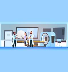 Team of doctors over mri machine scanner hospital vector