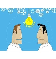 Two cartoon businessman share idea vector