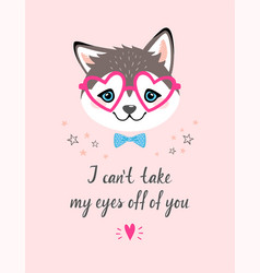 valentines card with husky vector image