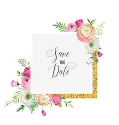 Wedding invitation greeting with floral ornament vector