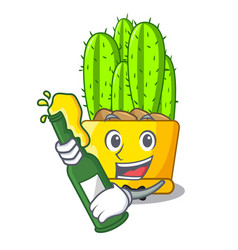 With beer cereus cactus with flower buds cartoon vector