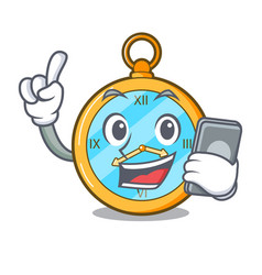 With phone pocket vintage watch on a cartoon vector